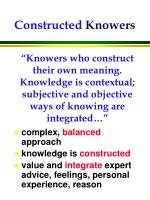 constructed knowers