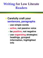 writing for low literate readers
