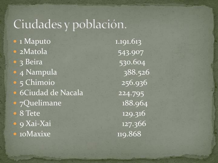 Ciudades y población.