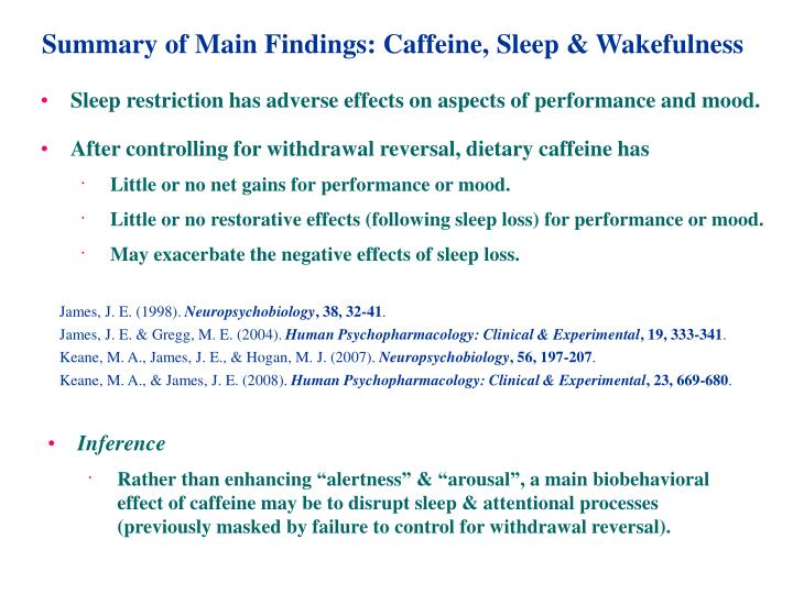 Summary of Main Findings: Caffeine, Sleep & Wakefulness