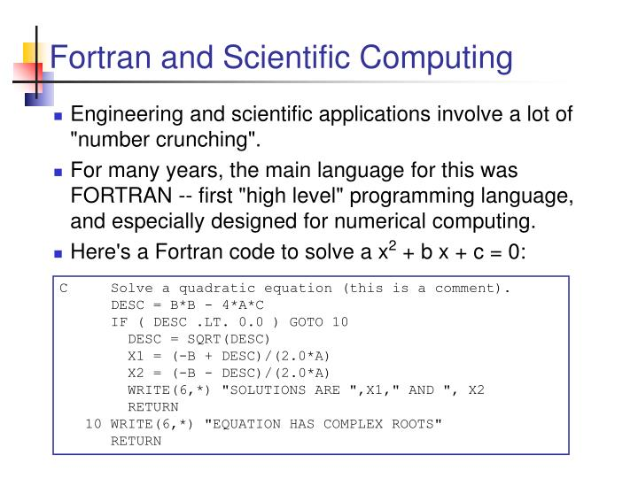 Fortran and Scientific Computing