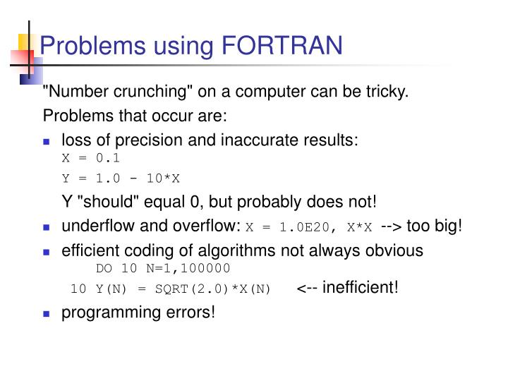 Problems using fortran