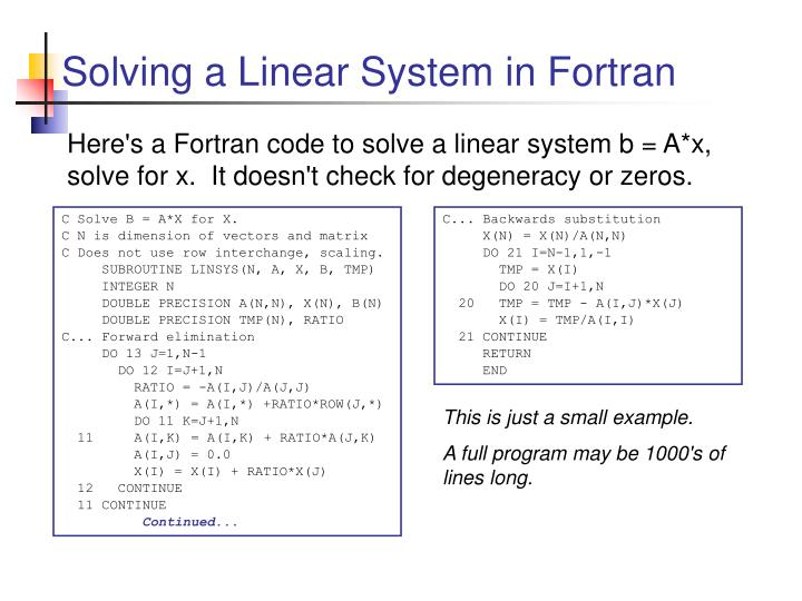 Solving a Linear System in Fortran