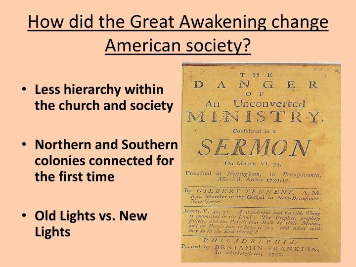 How did the Great Awakening change American society?