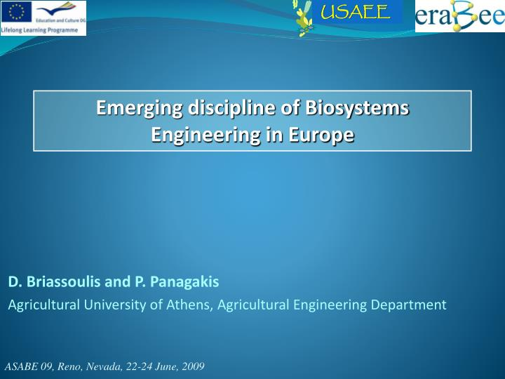 D briassoulis and p panagakis agricultural university of athens agricultural engineering department