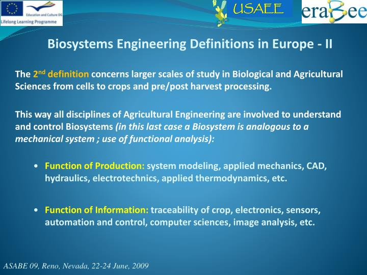 Biosystems Engineering Definitions in Europe - II