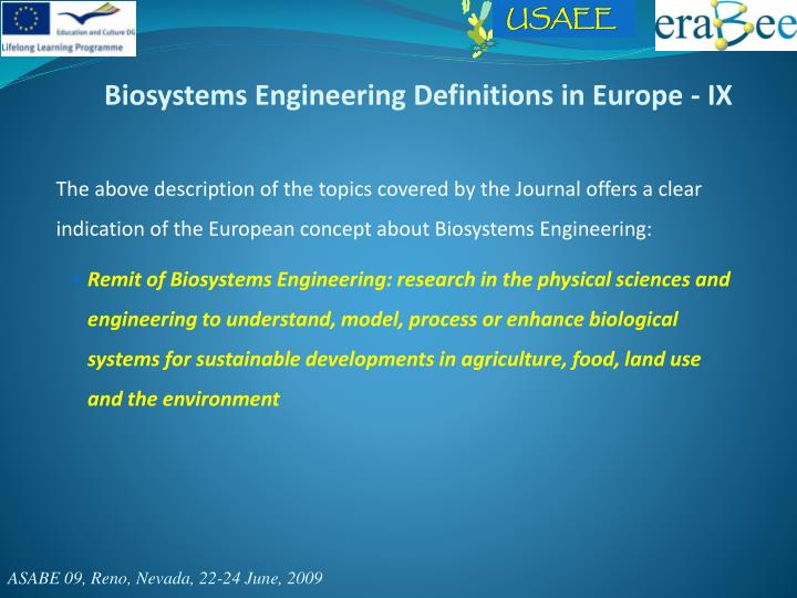 Biosystems Engineering Definitions in Europe - IX