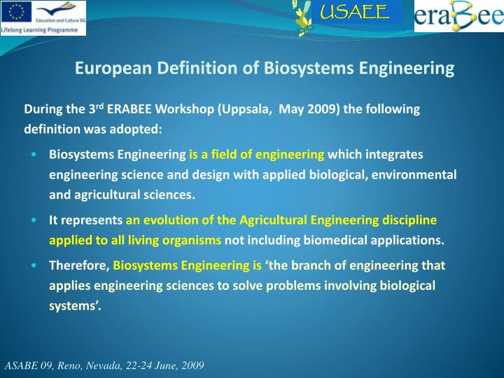 European Definition of Biosystems Engineering