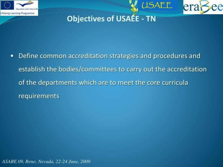 Objectives of USAEE - TN
