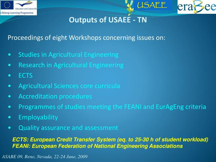 Outputs of USAEE - TN