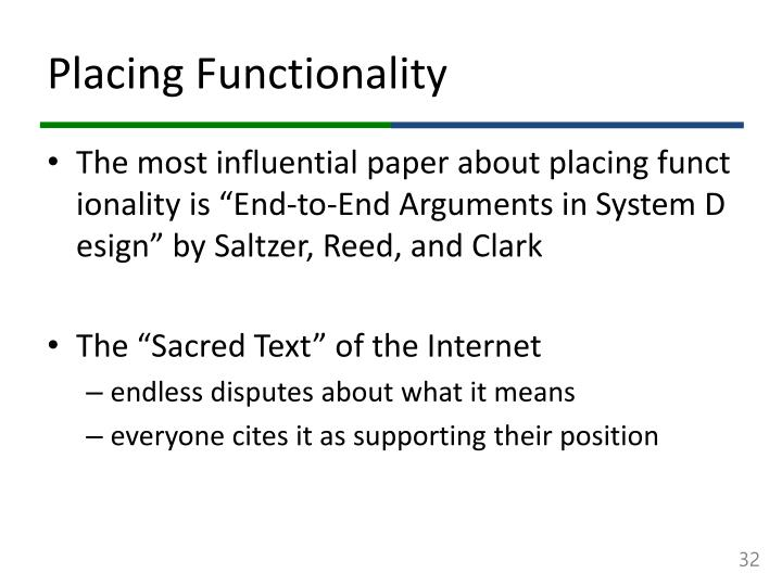 Placing Functionality