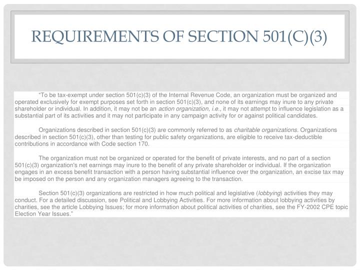 Requirements of Section 501(c)(3)