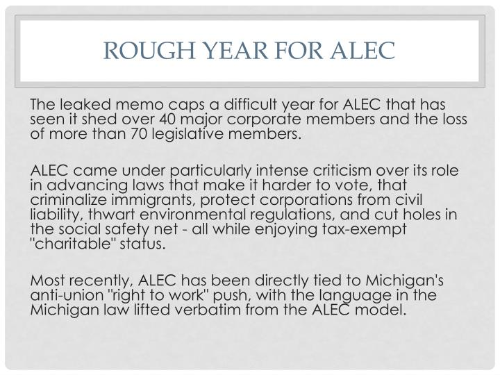 Rough Year for ALEC