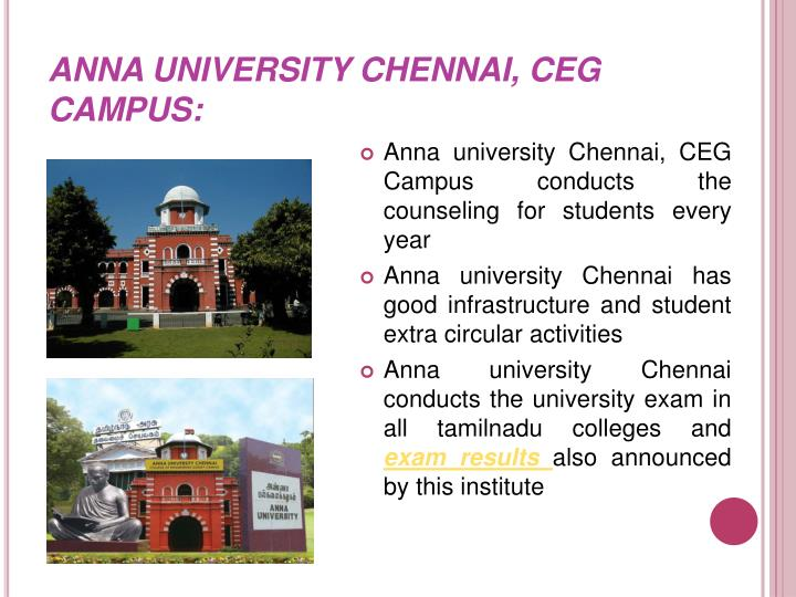 ANNA UNIVERSITY CHENNAI, CEG CAMPUS: