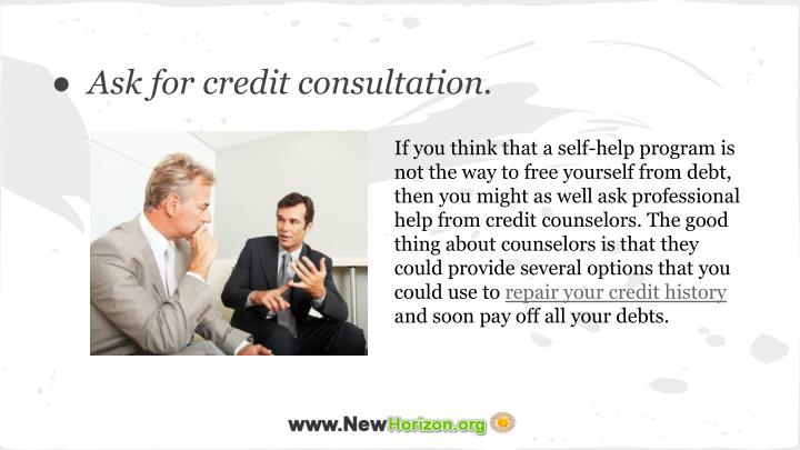 If you think that a self-help program is not the way to free yourself from debt, then you might as well ask professional help from credit counselors. The good thing about counselors is that they could provide several options that you could use to