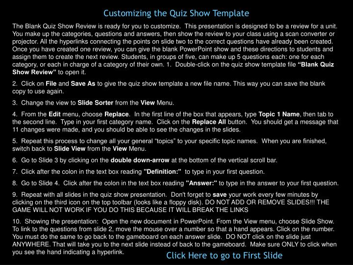 Customizing the Quiz Show Template