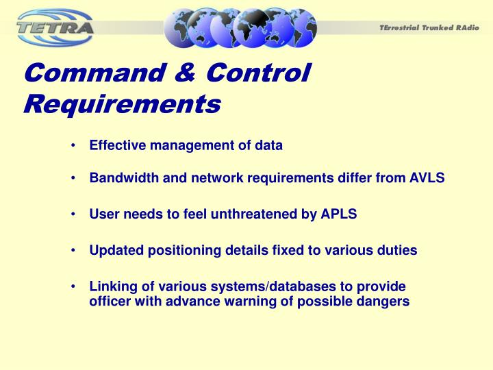 Command & Control Requirements
