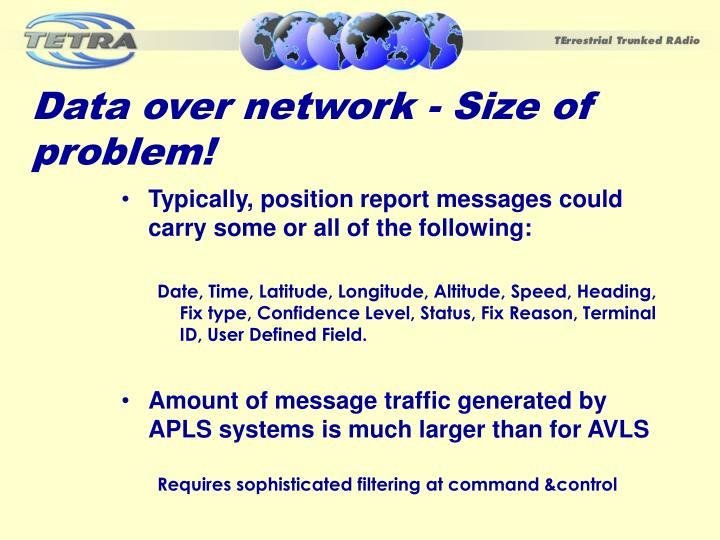 Data over network - Size of problem!