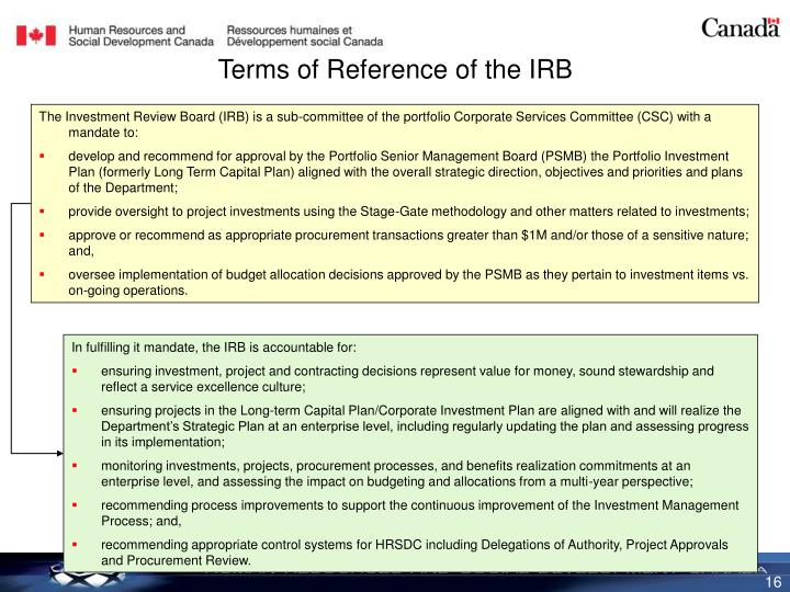 Terms of Reference of the IRB