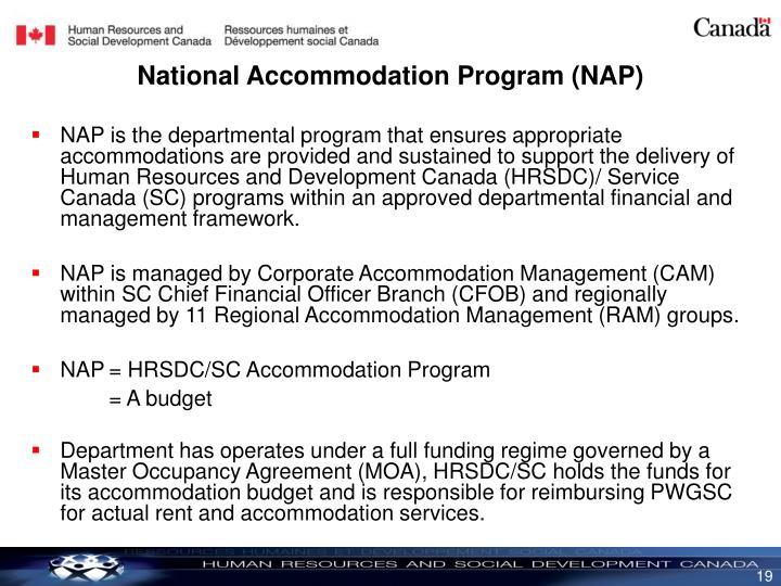 National Accommodation Program (NAP)