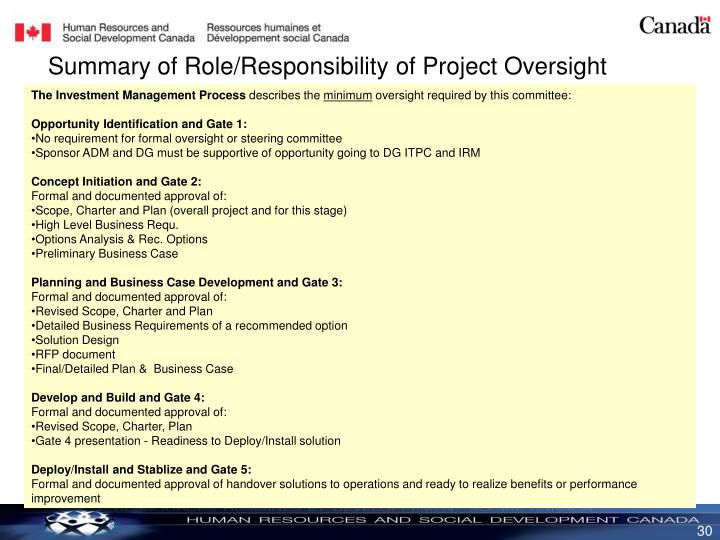 Summary of Role/Responsibility of Project Oversight