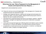 what does the new policy framework for the management of assets and acquired services require1