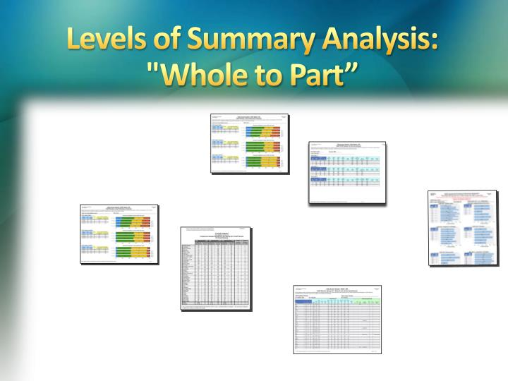 Levels of Summary Analysis: