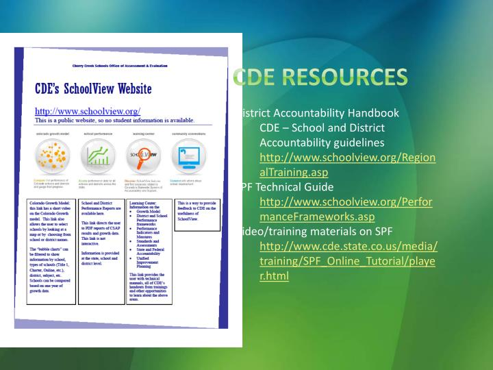 CDE Resources