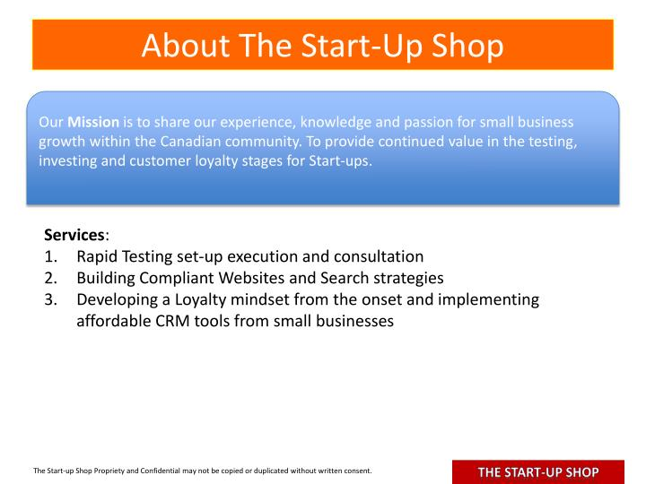 About The Start-Up Shop