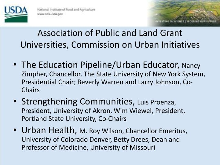 Association of Public and Land Grant Universities, Commission on Urban Initiatives
