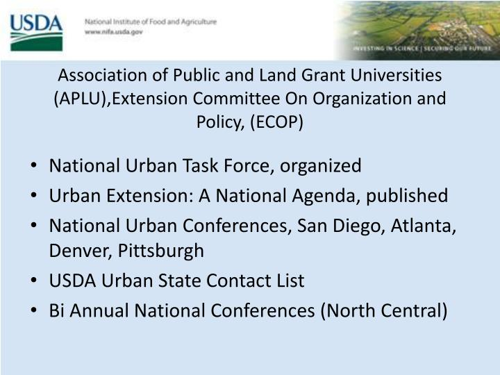 Association of Public and Land Grant Universities (APLU),Extension Committee On Organization and Policy, (ECOP)
