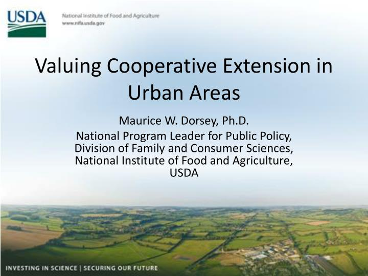 Valuing Cooperative Extension in Urban Areas