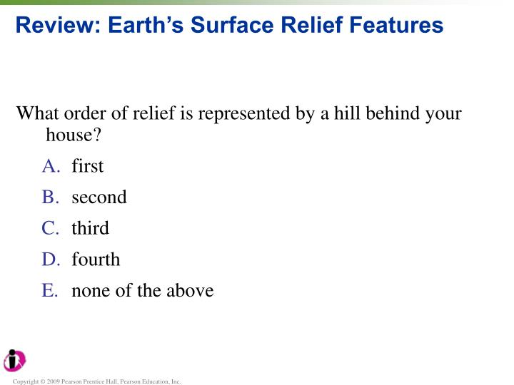 Review earth s surface relief features
