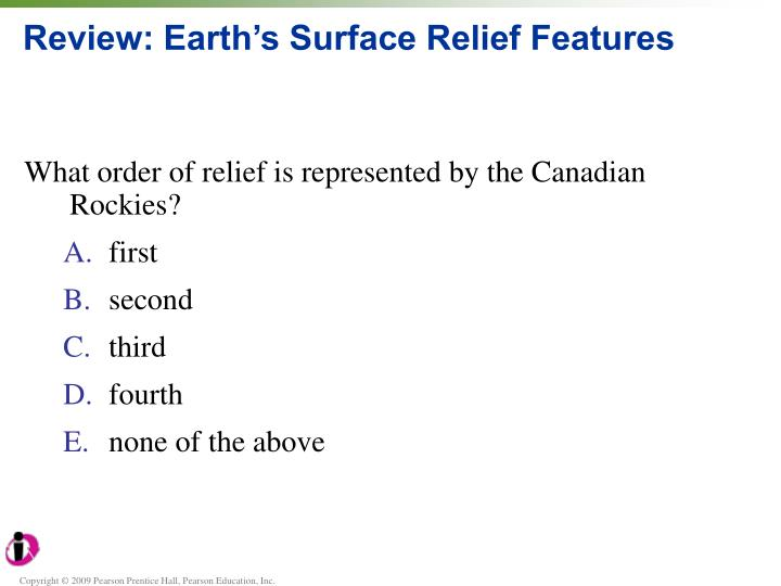 Review earth s surface relief features1