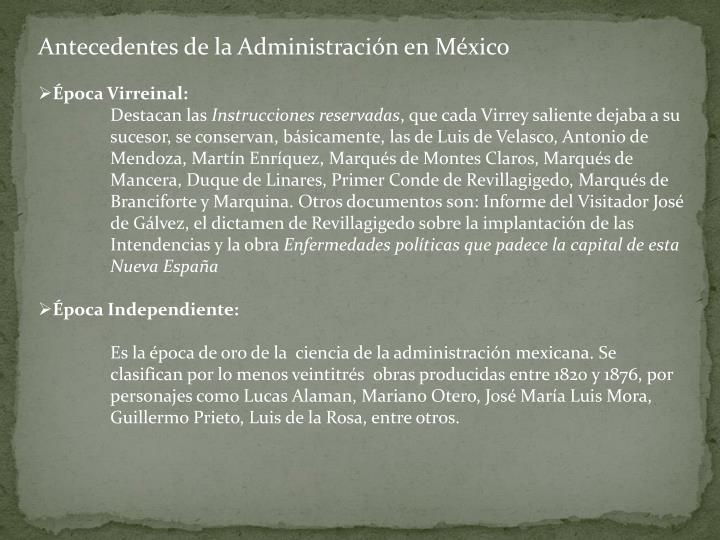 Antecedentes de la Administración en México