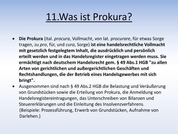 11.Was ist Prokura