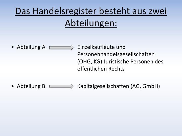 Das Handelsregister besteht aus zwei Abteilungen: