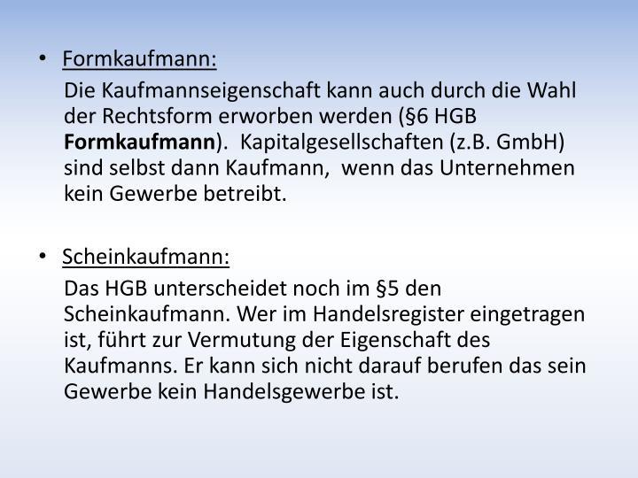 Formkaufmann: