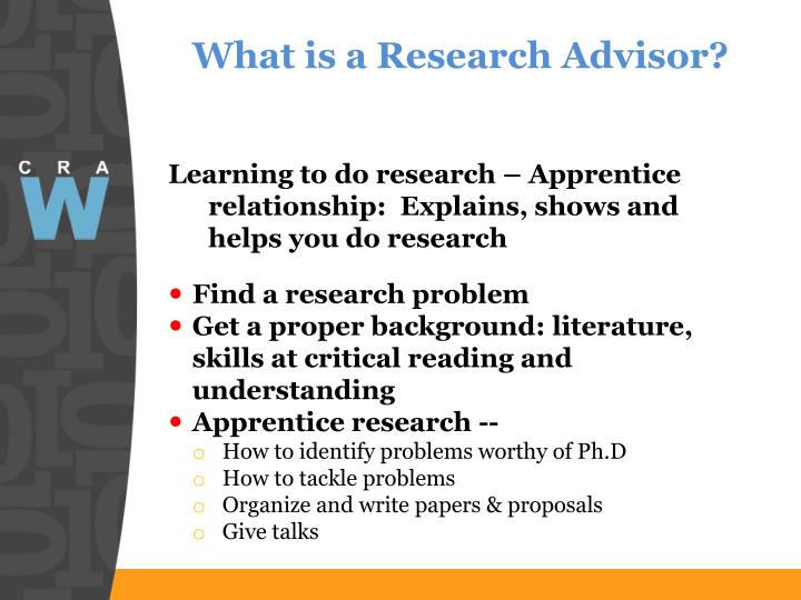 What is a Research Advisor?