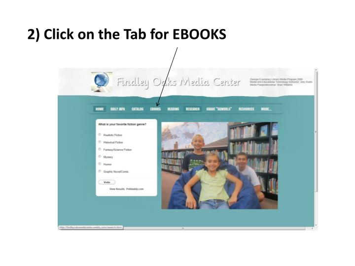 2) Click on the Tab for EBOOKS