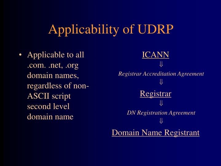 Applicable to all .com. .net, .org domain names, regardless of non-ASCII script second level domain name