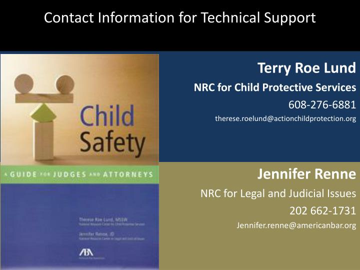 Contact Information for Technical Support