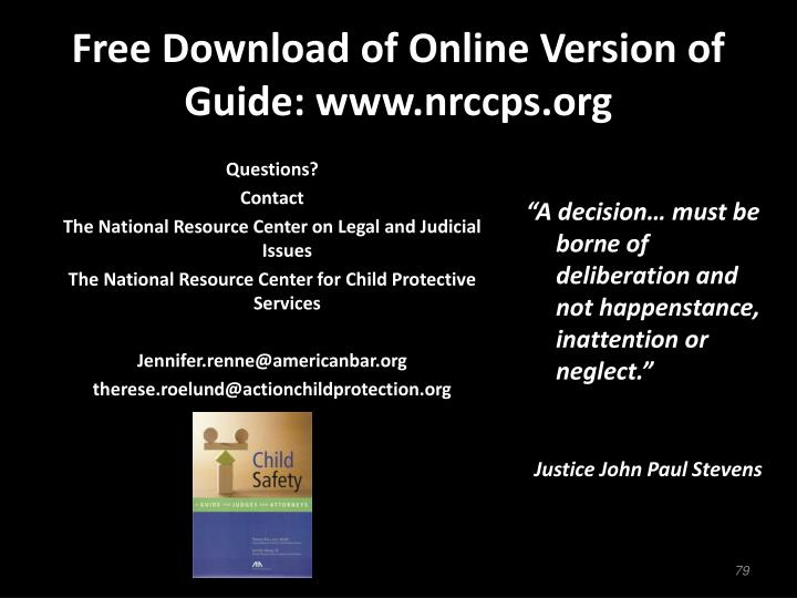 Free Download of Online Version of Guide: www.nrccps.org