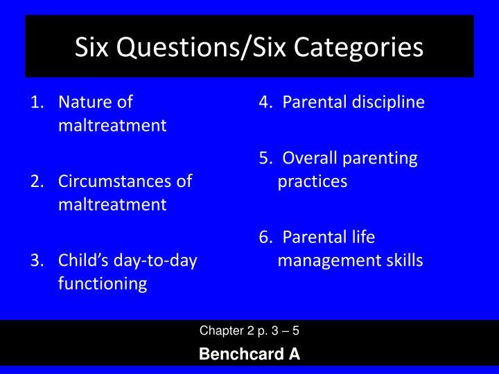 Six Questions/Six Categories