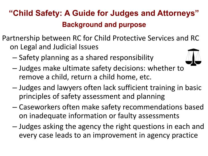 """Child Safety: A Guide for Judges and Attorneys"""