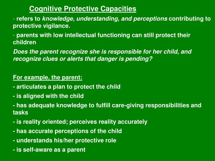 Cognitive Protective Capacities