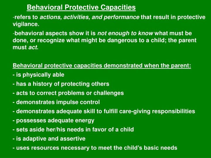 Behavioral Protective Capacities
