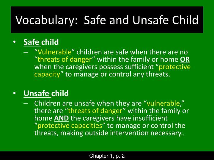 Vocabulary:  Safe and Unsafe Child