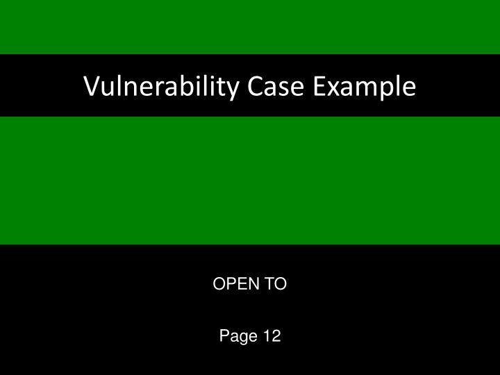 Vulnerability Case Example