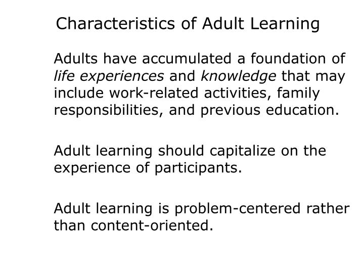 Characteristics of Adult Learning